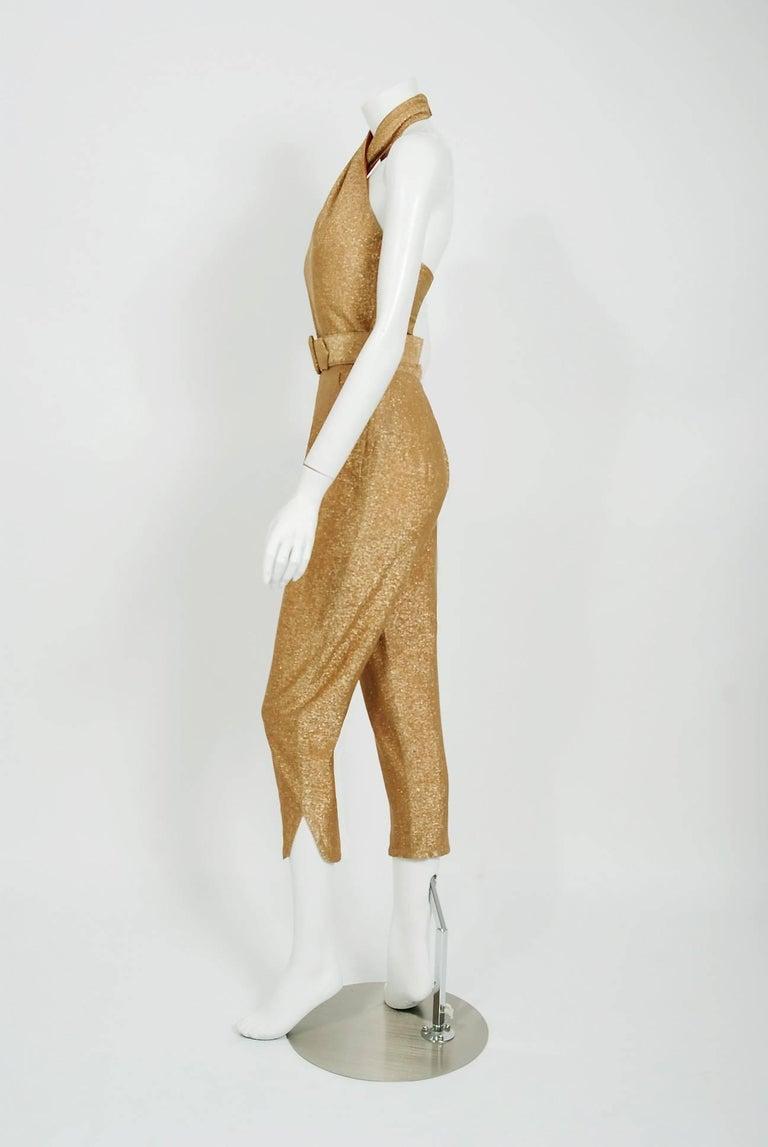 1950 S Metallic Gold Lurex Halter Blouse And Capri Pants