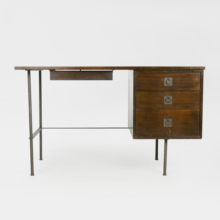 Mid-Century Modern 1950s Metaphor Desk in Mahogany and Brass by Harvey Probber For Sale