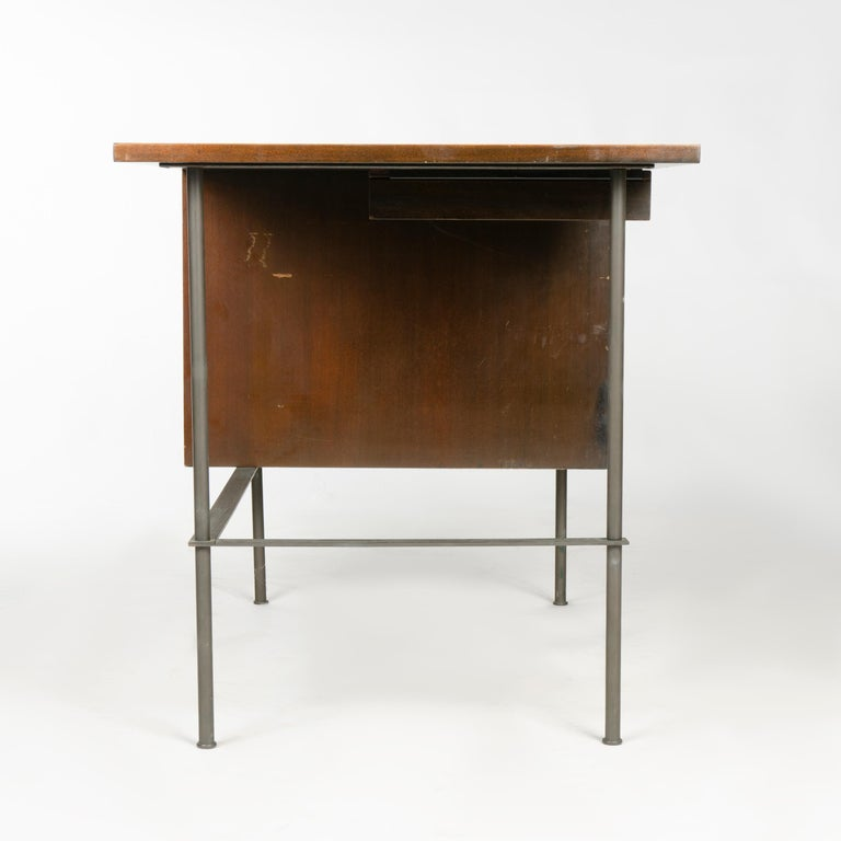 American 1950s Metaphor Desk in Mahogany and Brass by Harvey Probber For Sale