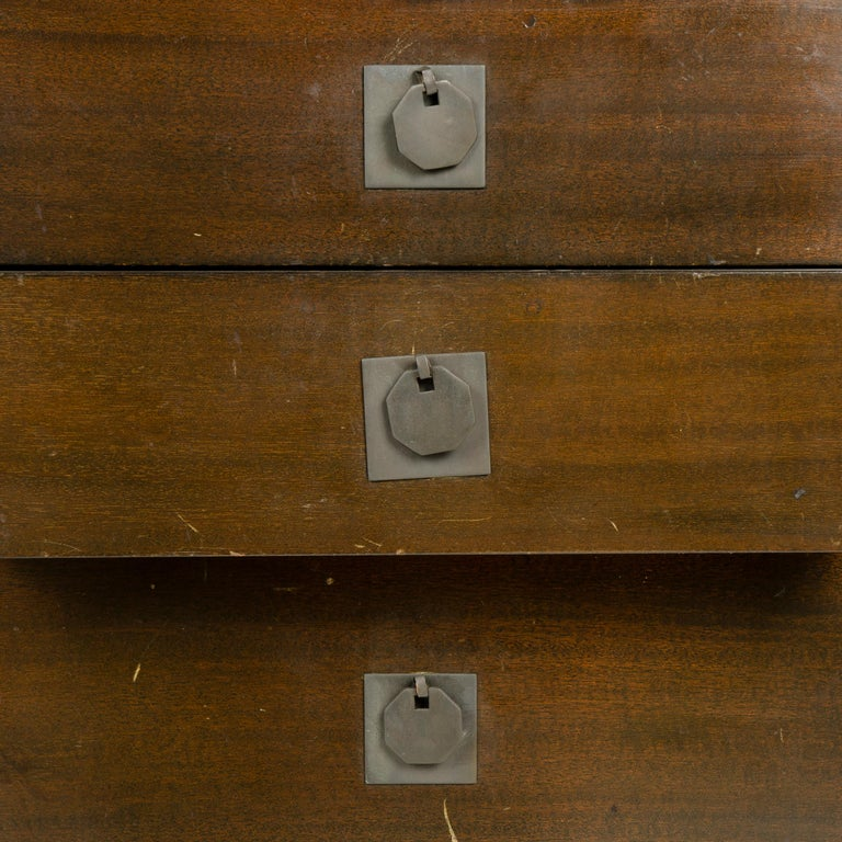 Mid-20th Century 1950s Metaphor Desk in Mahogany and Brass by Harvey Probber For Sale