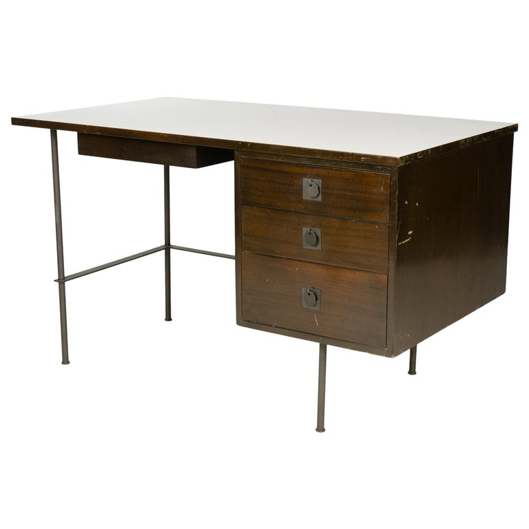 1950s Metaphor Desk in Mahogany and Brass by Harvey Probber For Sale