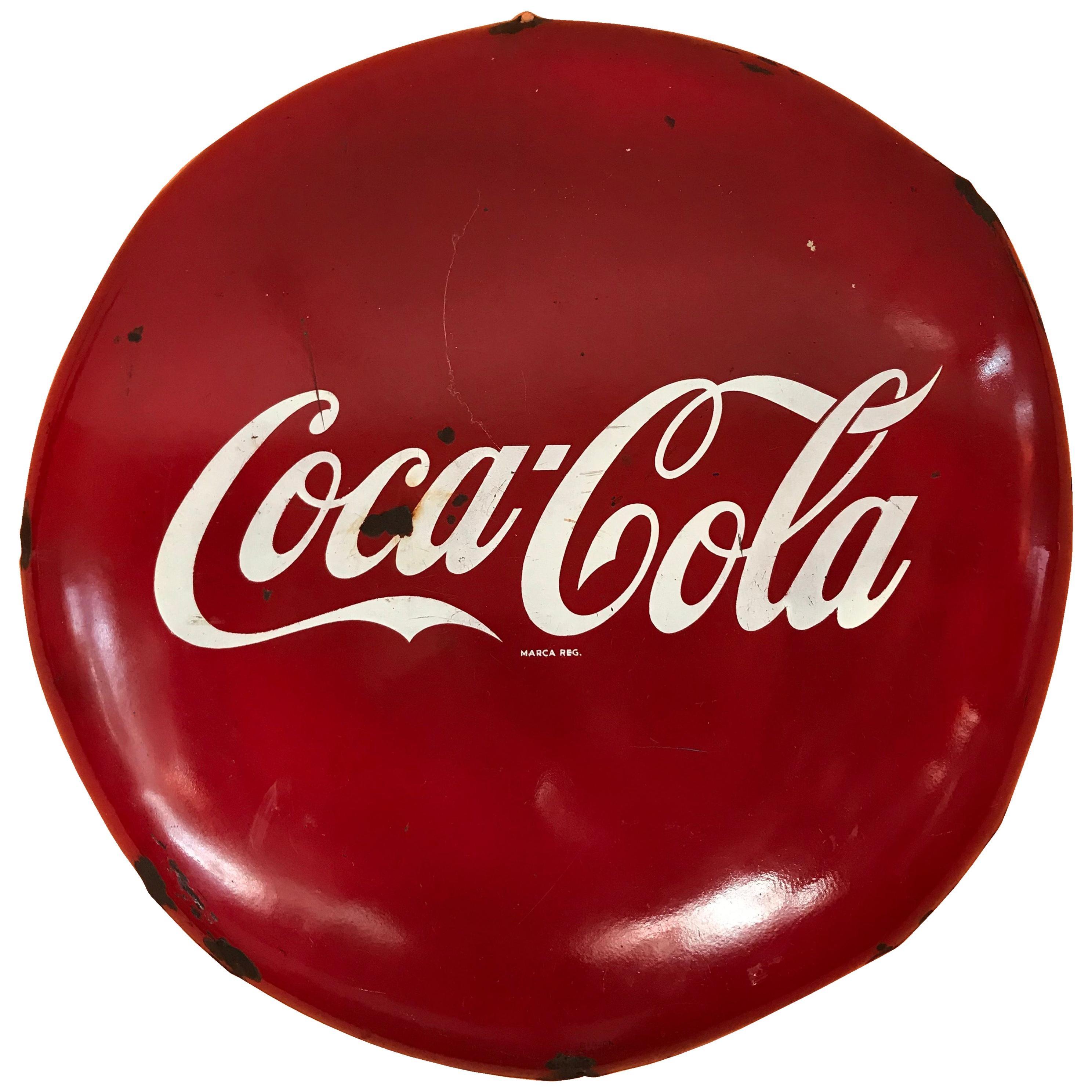 1950s Mexican Coca Cola Round Sign