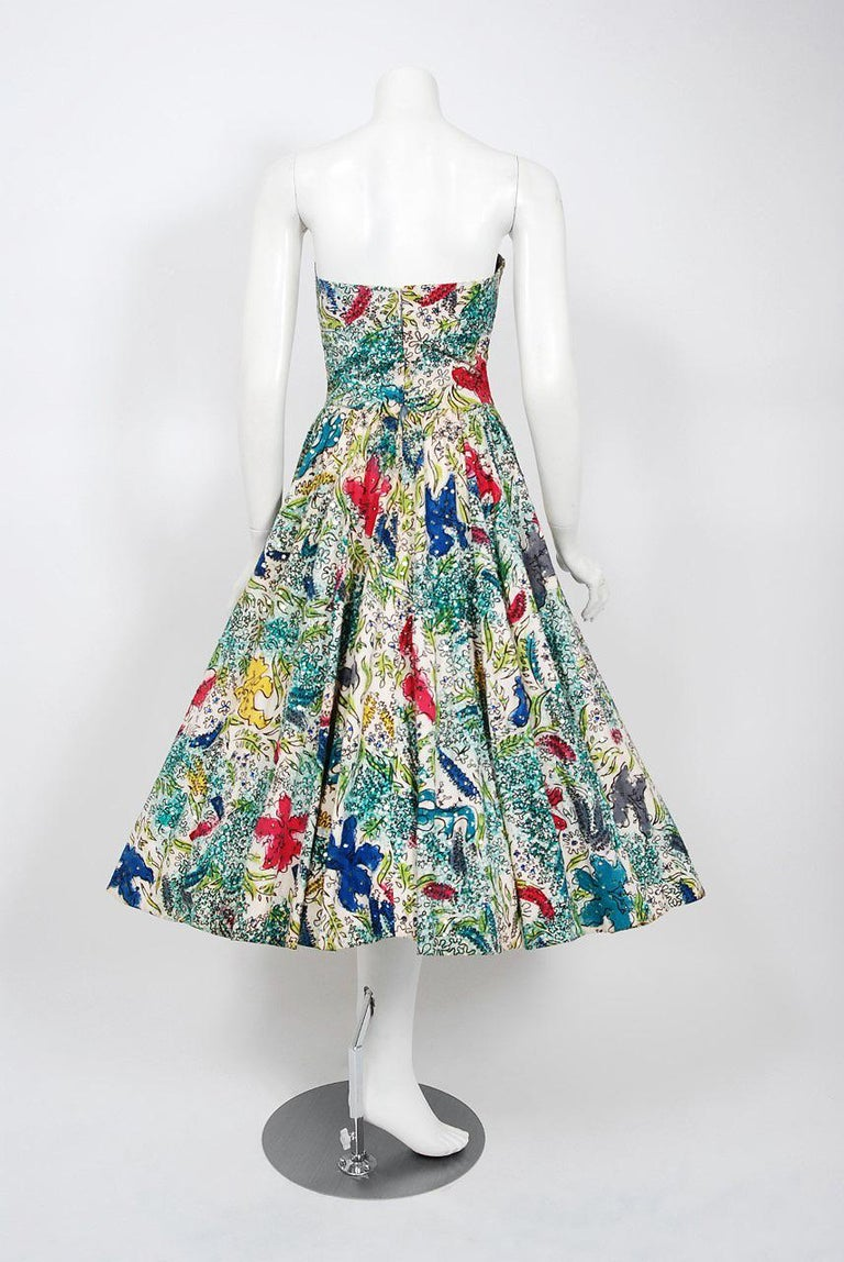 1950 S Mexican Hand Painted Under The Sea Sequin Cotton