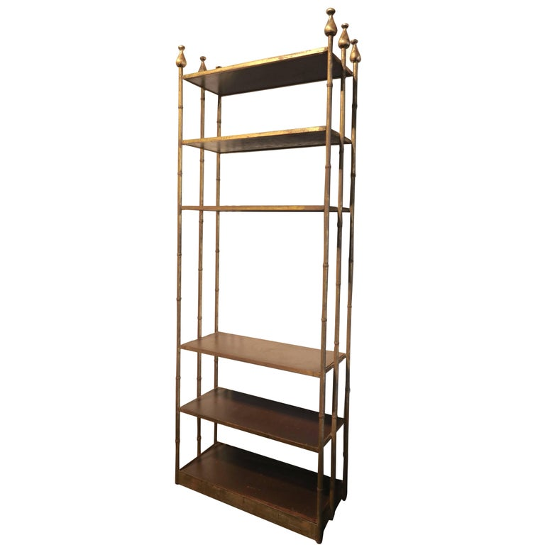 1950s Mexican Metal and Wood Bookcase with Six Finials