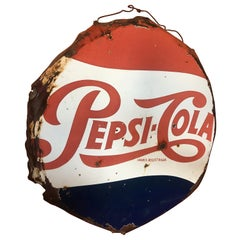 Vintage 1950's Mexican Pepsi Cola Porcelain Sign
