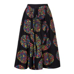 1950s Mexican Stained Glass Novelty Print Festival Skirt