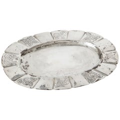 1950s Mexican Sterling Oval Dish Hand-Engraved with Flora and Fauna
