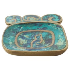 1950s Mexico Pepe Mendoza Art Vibrant Aqua Dish Turquoise Tray Malachite & Brass