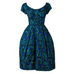1950's Michael Novarese Couture Blue Green Floral Silk-Brocade Sculpted Dress
