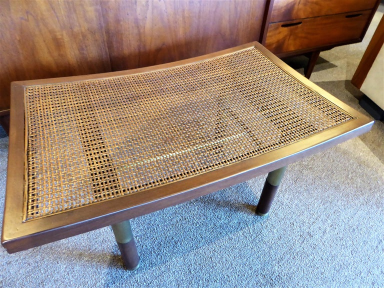 1950s Michael Taylor for Baker Far East Collection Cane & Brass Bench For Sale 4