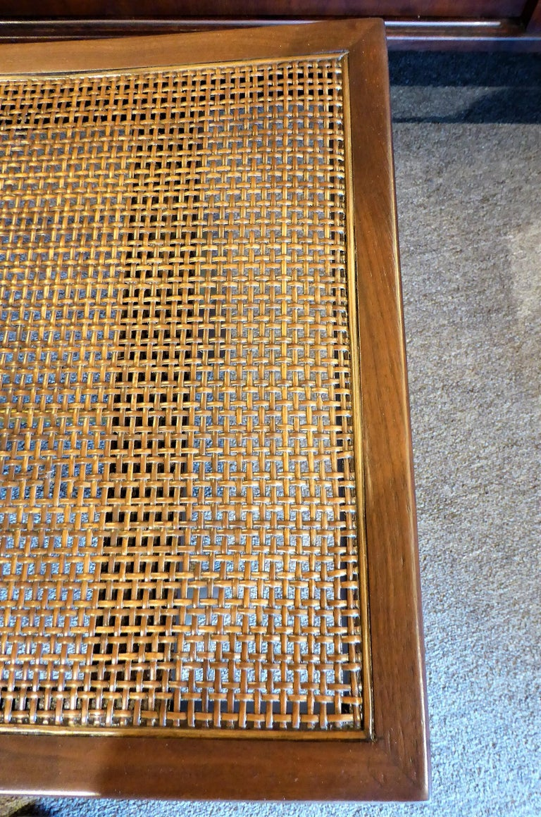 1950s Michael Taylor for Baker Far East Collection Cane & Brass Bench For Sale 6