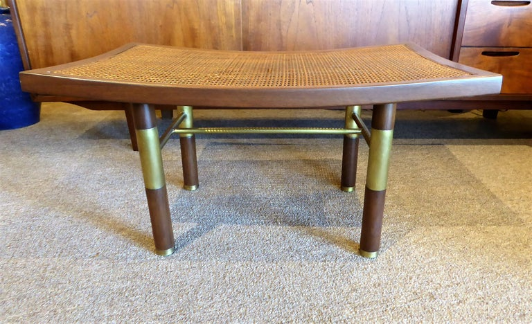 Mid-Century Modern 1950s Michael Taylor for Baker Far East Collection Cane & Brass Bench For Sale