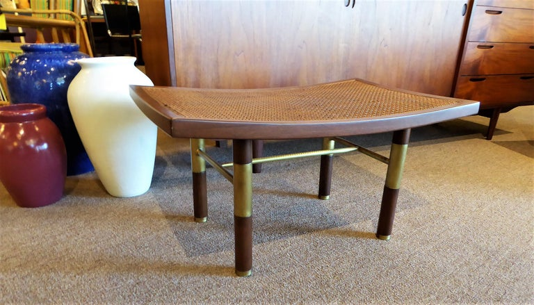 American 1950s Michael Taylor for Baker Far East Collection Cane & Brass Bench For Sale