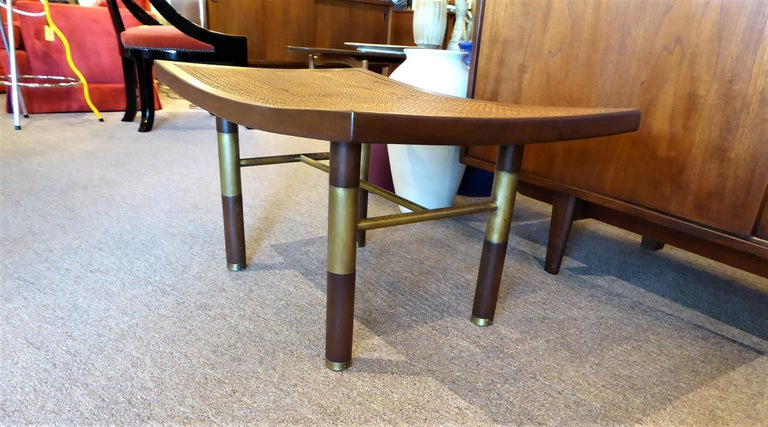 1950s Michael Taylor for Baker Far East Collection Cane & Brass Bench In Good Condition For Sale In Miami, FL