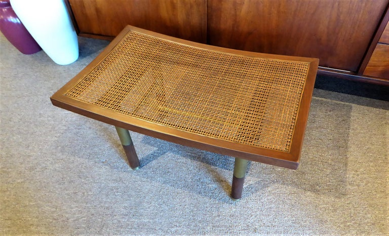 Mid-20th Century 1950s Michael Taylor for Baker Far East Collection Cane & Brass Bench For Sale