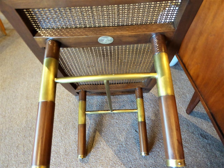1950s Michael Taylor for Baker Far East Collection Cane & Brass Bench For Sale 2