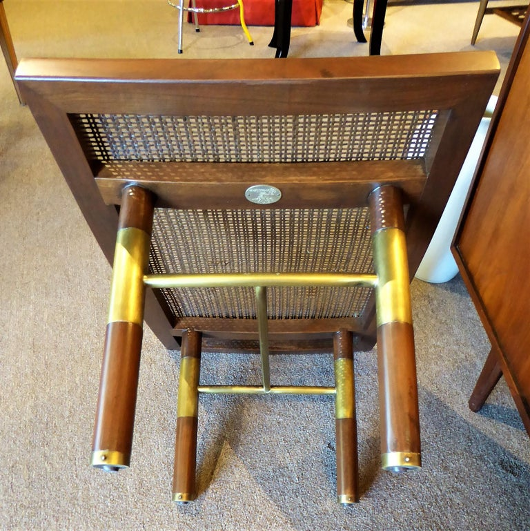 1950s Michael Taylor for Baker Far East Collection Cane & Brass Bench For Sale 3