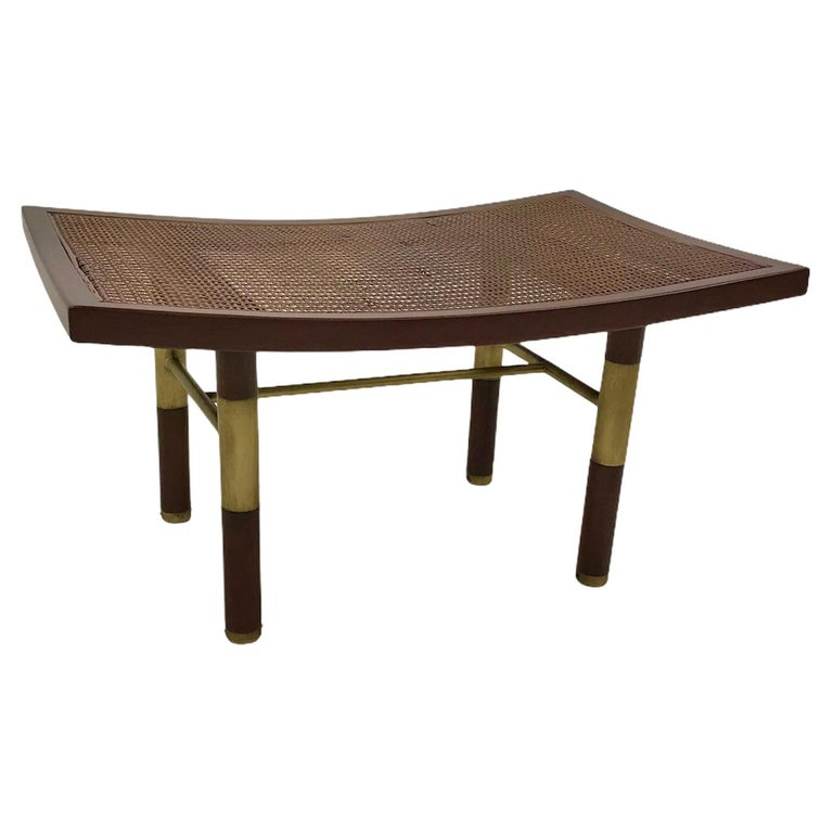 1950s Michael Taylor for Baker Far East Collection Cane & Brass Bench For Sale