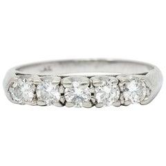 1950's Mid-Century 0.75 Ctw Diamond Platinum Fishtail Band Ring