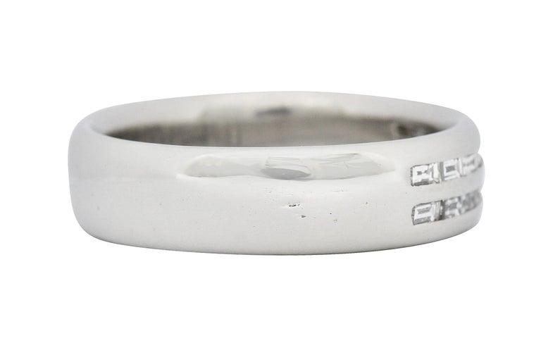 Retro 1950's Mid-Century 0.80 Carat Diamond Platinum Men's Band Ring US For Sale