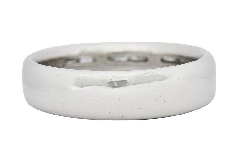 Baguette Cut 1950's Mid-Century 0.80 Carat Diamond Platinum Men's Band Ring US For Sale