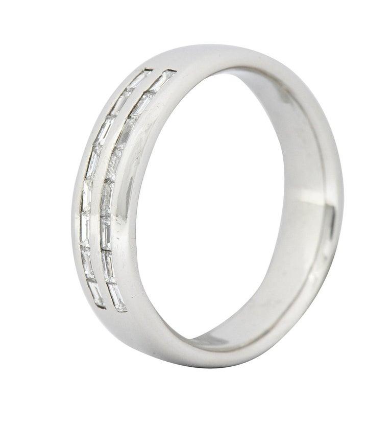1950's Mid-Century 0.80 Carat Diamond Platinum Men's Band Ring US For Sale 2