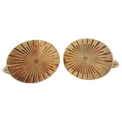 1950s Midcentury 10 Karat Yellow Gold Radial Sun Burst Cufflinks