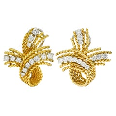 1950's Mid-Century 1.45 Carats Diamond 18 Karat Two-Tone Gold Twisted Earrings