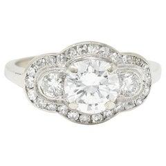 1950's Mid-Century 1.65 Carats Diamond 14 Karat White Gold Engagement Ring