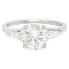 1950's Mid-Century 1.85 Carats Diamond Platinum Engagement Ring