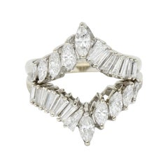 1950's Mid-Century 2.00 Carat Diamond 14 Karat White Gold Chevron Band Rings