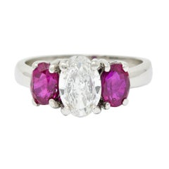 1950's Mid-Century 2.13 Carats Diamond Ruby Platinum Three Stone Ring GIA
