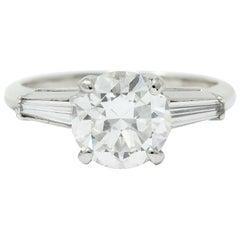 1950s Midcentury 2.22 Carat Diamond Platinum Engagement Ring GIA
