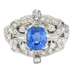 1950's Mid-Century 2.90 Carats Sapphire Diamond 18 Karat White Gold Ring