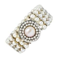 1950's Mid-Century 3.00 Carats Diamond Pearl 14 Karat White Gold Strand Bracelet