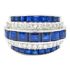 1950's Mid-Century 3.90 Carat Sapphire Diamond Platinum Band Ring
