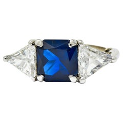 1950's Mid-Century 4.59 Carat No Heat Sapphire Diamond Platinum Three Stone Ring