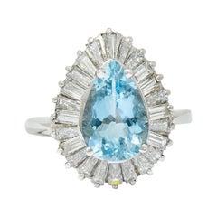 1950's Mid-Century 4.61 Carats Aquamarine Diamond Platinum Ballerina Halo Ring