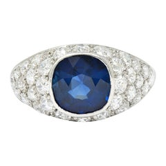 1950's Mid-Century 5.09 Carats No Heat Sapphire Diamond Platinum Bombe Ring