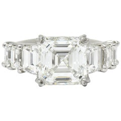 1950s Midcentury 5.90 Carat Asscher Diamond Platinum Engagement Ring GIA
