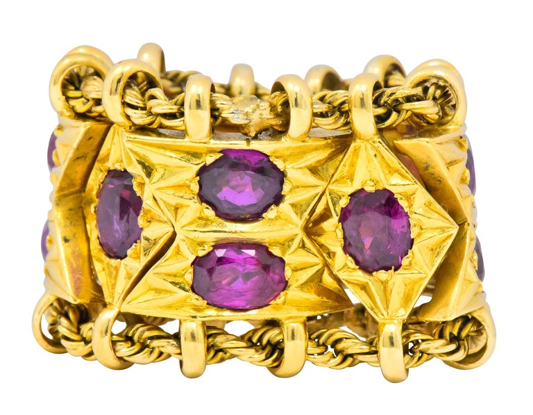 Oval Cut 1950's Mid-Century 7.50 Carat Ruby 18 Karat Gold Link Articulated Band Ring For Sale