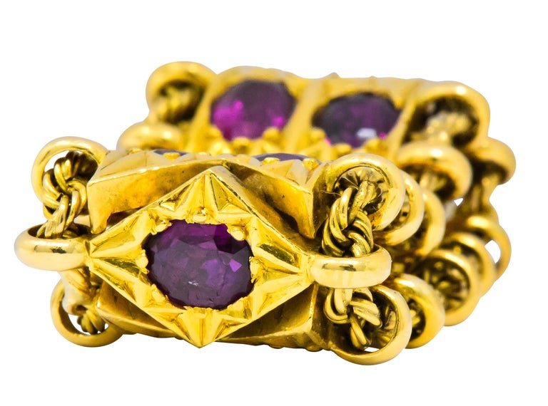 1950's Mid-Century 7.50 Carat Ruby 18 Karat Gold Link Articulated Band Ring In Excellent Condition For Sale In Philadelphia, PA