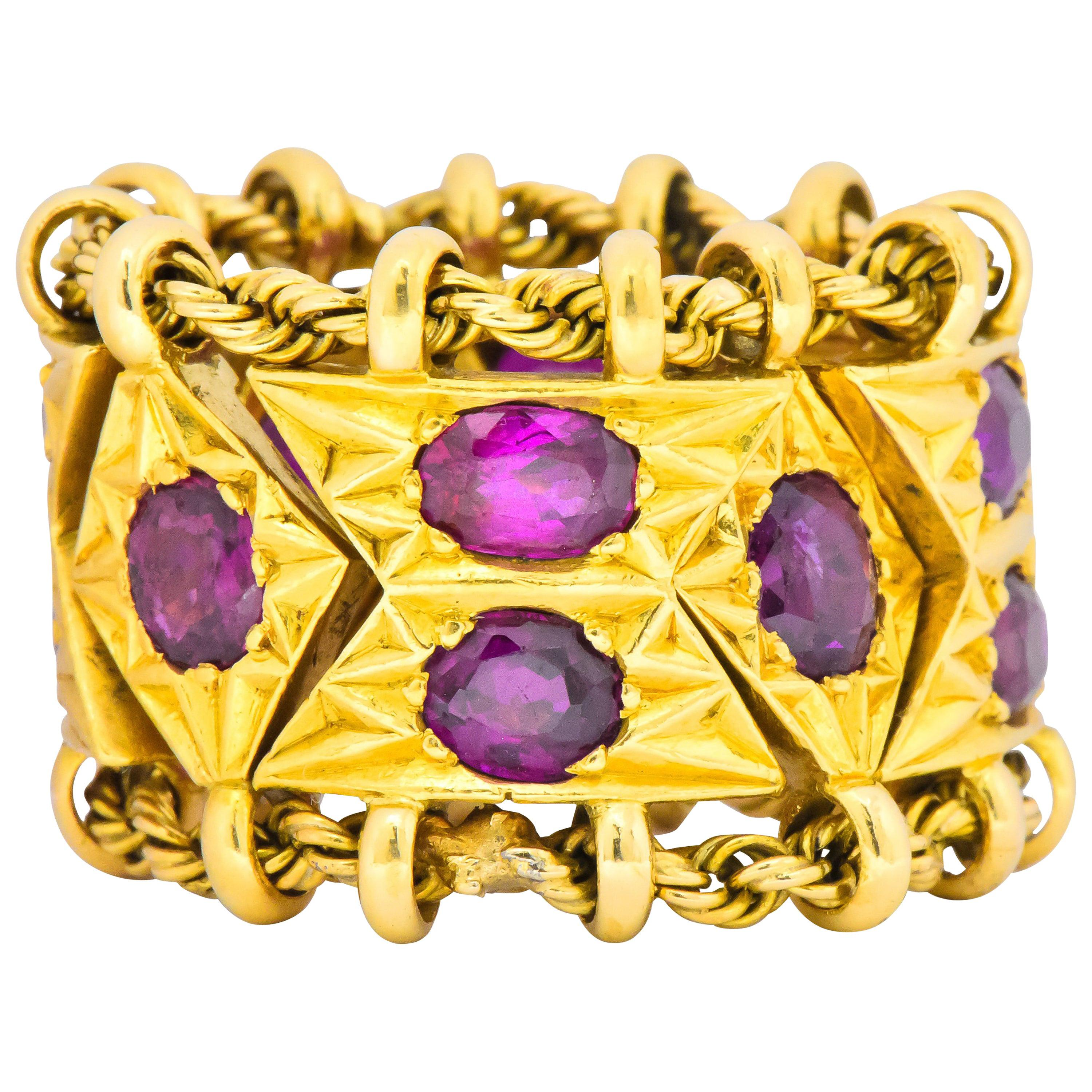 1950's Mid-Century 7.50 Carat Ruby 18 Karat Gold Link Articulated Band Ring