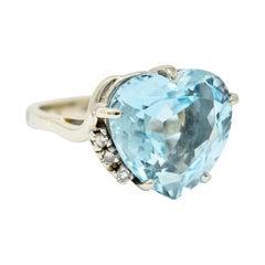 1950's Mid-Century 8.18 Carats Aquamarine Diamond 14 Karat White Gold Heart Ring