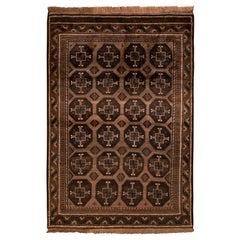 1950s Midcentury Baluch Rug Beige Brown Geometric Persian Tribal Pattern