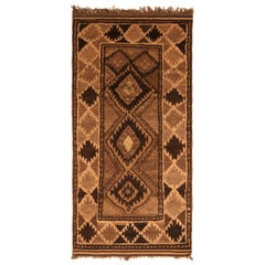 1950s Midcentury Baluch Rug Diamond Beige Brown Vintage Persian Tribal Rug