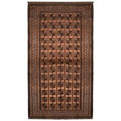 1950s Midcentury Baluch Tribal Rug Beige-Brown Blue Persian Carpet