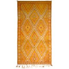 1950s Midcentury Berber Rug Gold Diamond Pattern Moroccan Rug