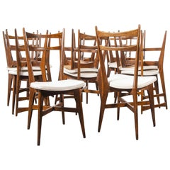 1950s Midcentury French Upholstered Dining Chairs, Set of Fourteen