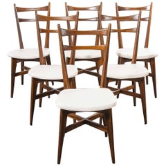 1950s Midcentury French Upholstered Dining Chairs, Set of Six